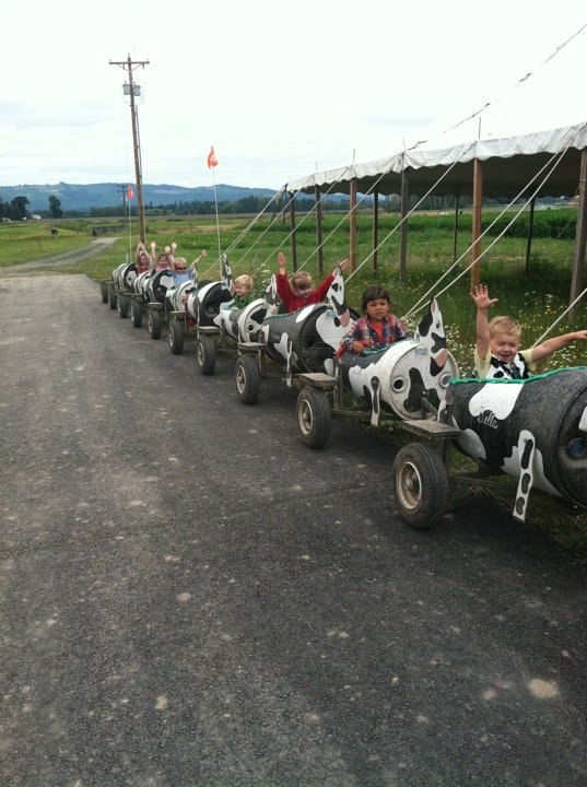 Kids on cow train