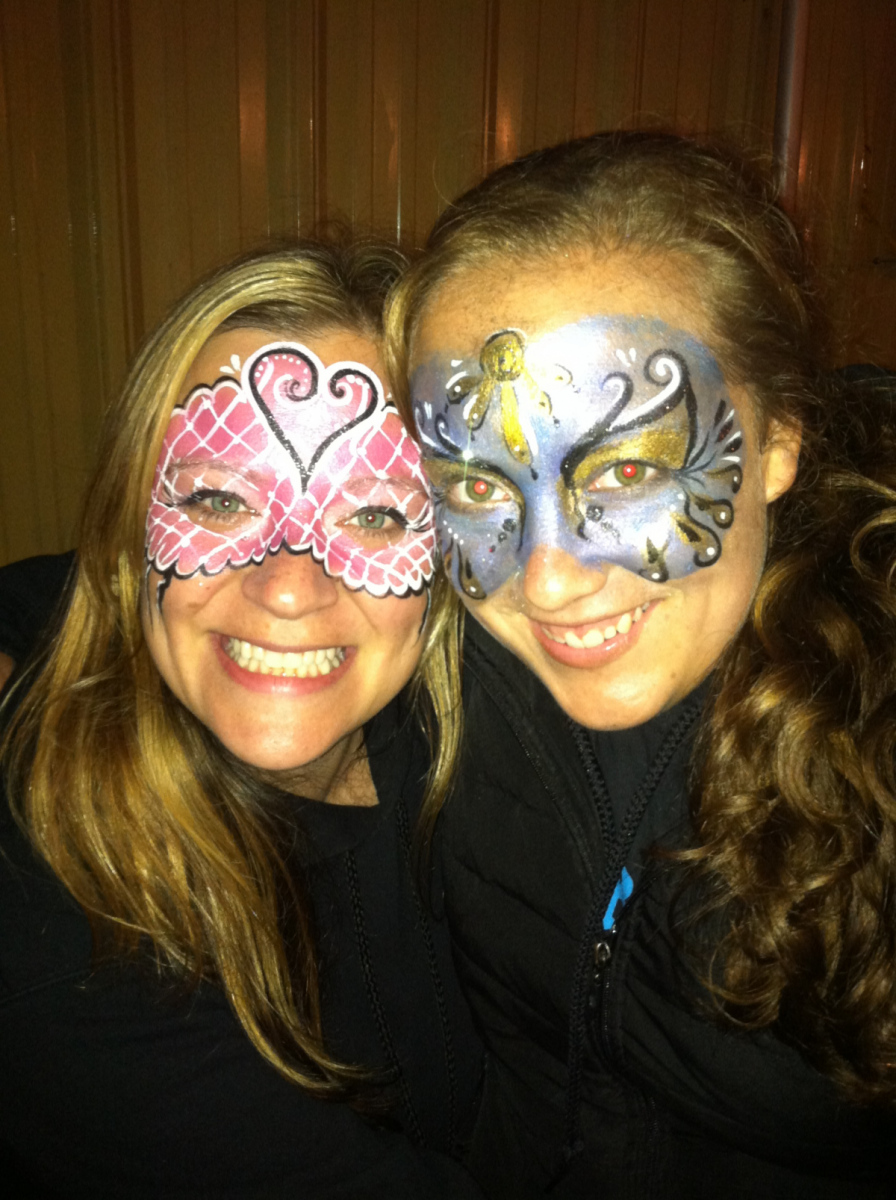 girls painted faces